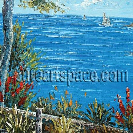 Custom Palette knife beautiful Blue seaside landscape Trees Sailboat Oil Painting For Living Room Home Decor