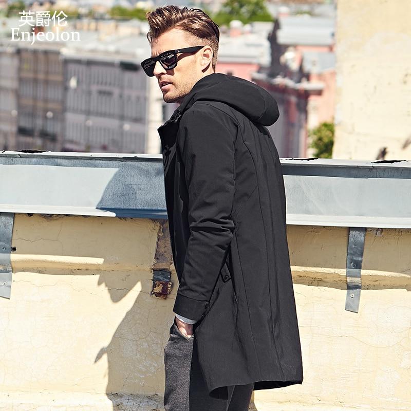 Enjeolon marca sudaderas con capucha nuevas gabardina para hombre ropa de calidad hombre largo negro gabardina chaqueta cazadora de talla grande 3XL JK0427