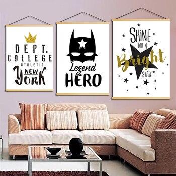 Домашний декор в скандинавском стиле, холст, звезда, корона, буквы, фотографии, маска летучей мыши, плакат, деревянная прокрутка, висячая кар...