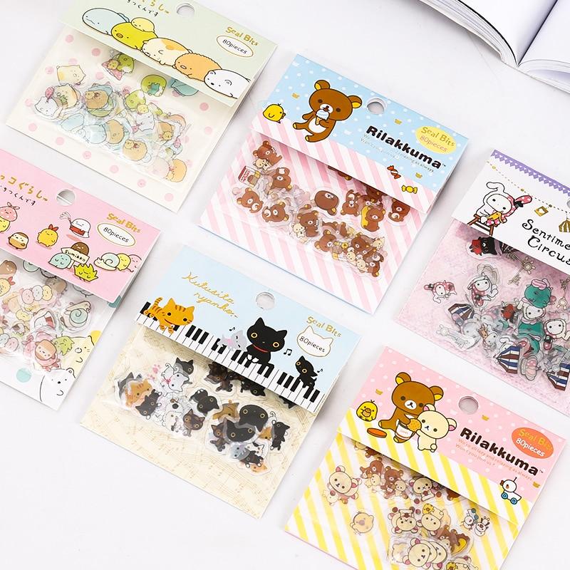 carino-gatti-adesivi-trasparenti-diario-scrapbooking-etichette-decorativo-tag-80-pcs