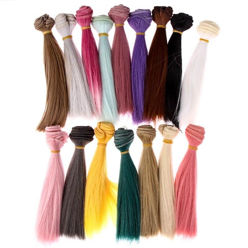 1 stücke 15*100cm Puppe Zubehör Gerade Synthetische Faser Perücke Haar Für Puppe Perücken Hohe-temperatur Draht