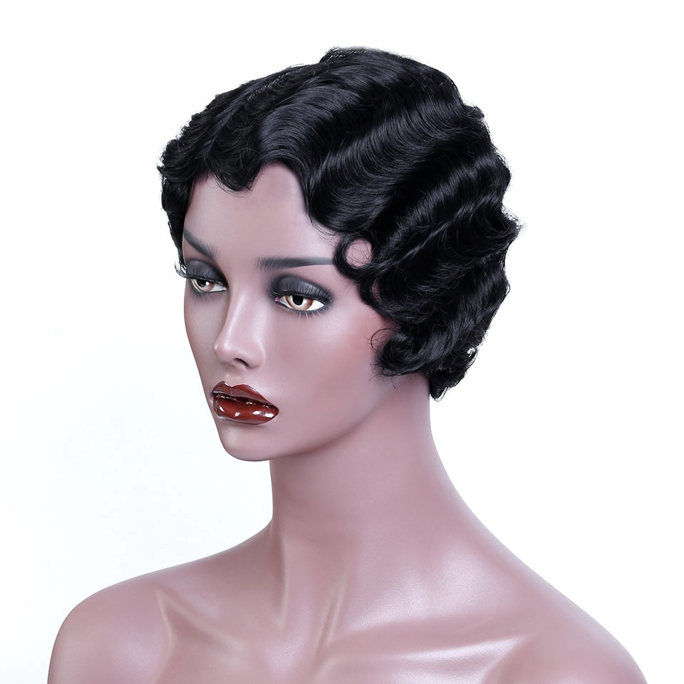 WTB Black Short Pixie Cut Wigs for Black Women African Afro Hair Synthetic Wigs Pink Finger Wave Hair Wig 8 Colors Available