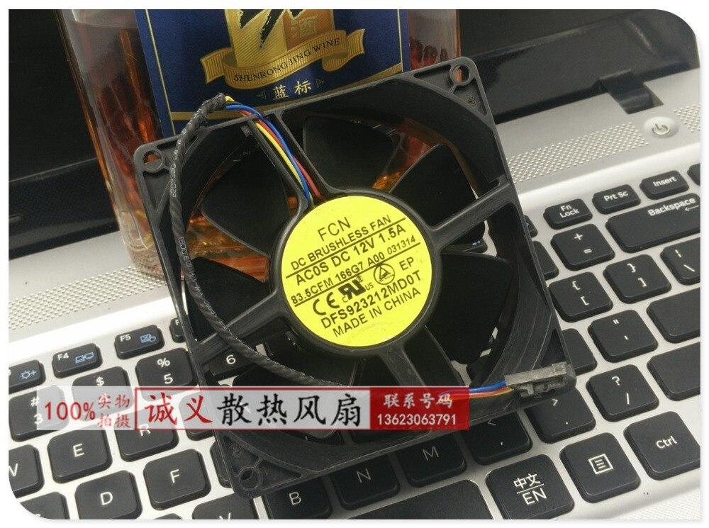 FCN 12 V 1.5A 9232 quatro linhas servidor ventilador de controle de temperatura de 9 cm