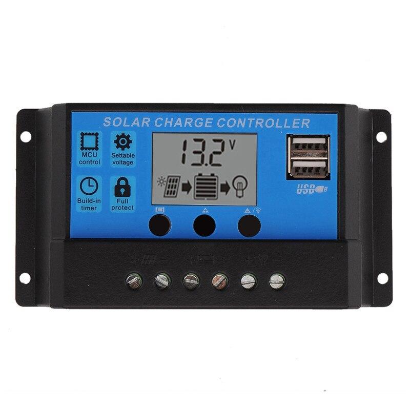 لوحة الخلايا الشمسية الذكية مع منظم شحن البطارية ، مع شاشة LCD ، USB 5 فولت ، 10 أمبير 20 أمبير 30 أمبير 12 فولت 24 فولت