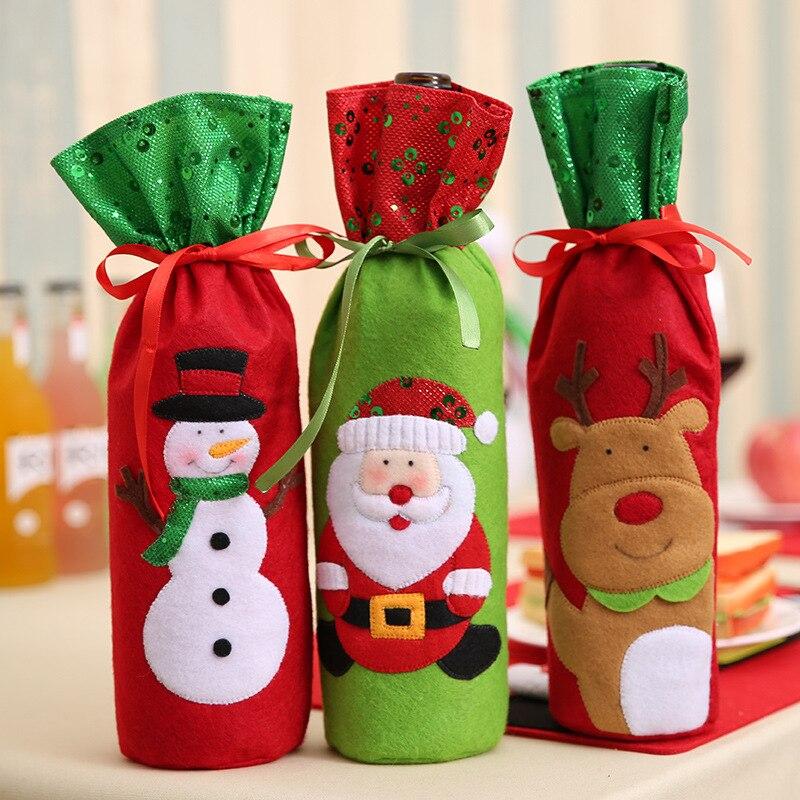 3 piunids/lote decoraciones de Navidad para el Hogar Santa Claus botella de vino bolsa de Santa saco Navidad Año Nuevo decoración Navidad