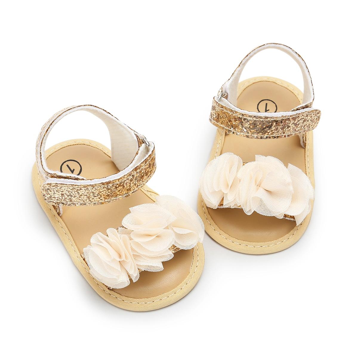 Girl Sandals Flowers Baby Girls Shoes Anti-slip Sandals Prewalkers Flower Walking Shoes Beach Sandals