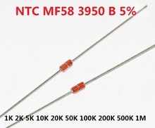 Libera La Nave 20pcs Resistenza Termica NTC MF58 3950 B 5% 1K 2K 5K 10K 20K 50K 100K 200K 500K 1M 1/2/3/5/10 /K Ohm R Termistore Sensore