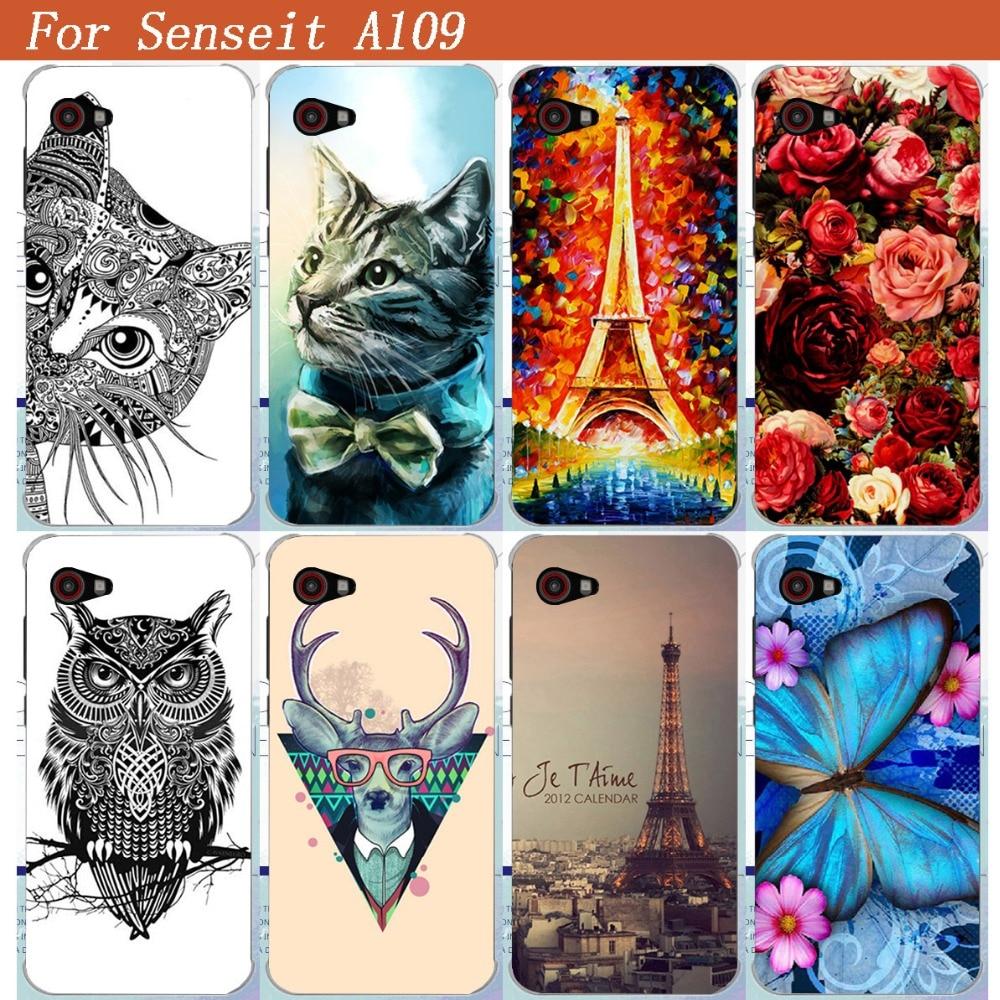 Für Senseit A109 Telefon Fall gedruckt blau schmetterling Tiger Eule Eiffel Türme Malerei TPU telefon fall Für Senseit A109 zurück abdeckungen