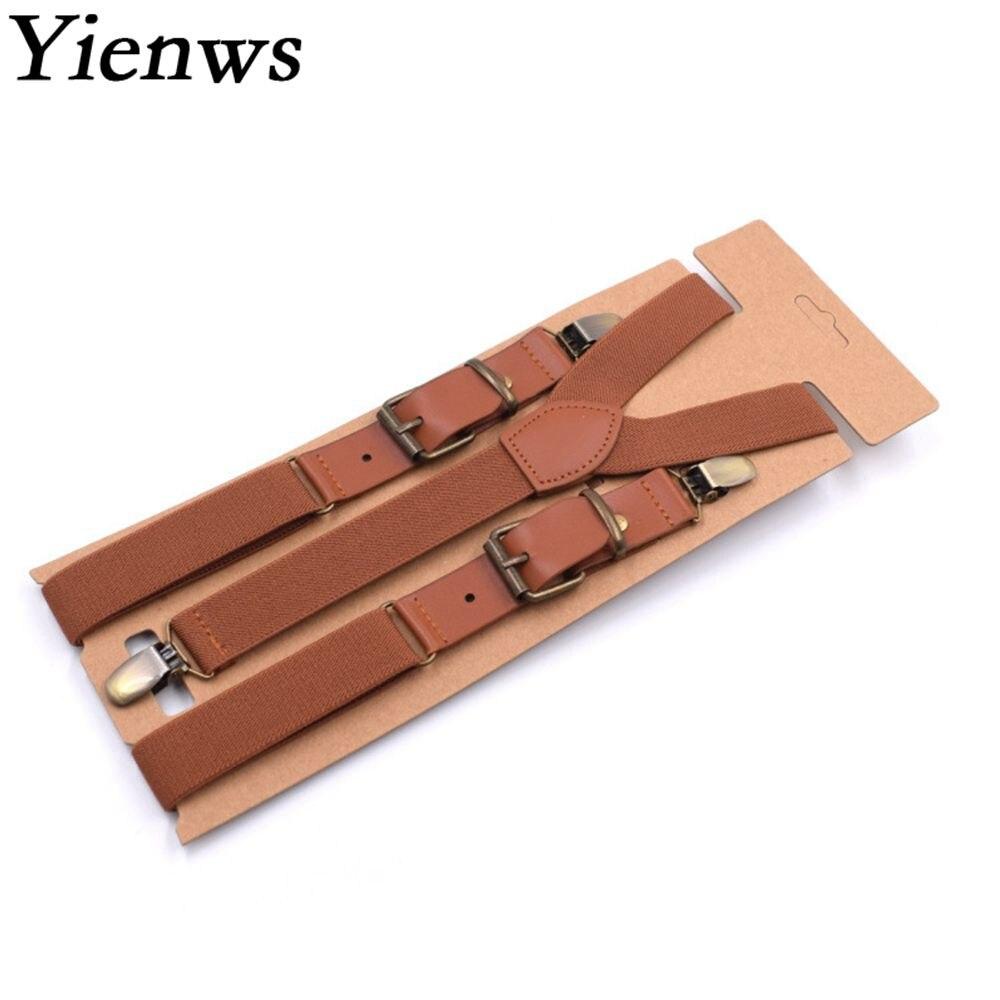Tirantes Yienws Vintage para hombre, tirantes de correa con 3 clips para pantalones, tirantes de cuero Pu, pantalones para hombre, marrón, 115 cm, Bretels Mannen YiA040