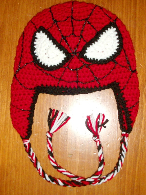 Envío Gratis, gorro del Hombre Araña para niños, gorro de ganchillo para hombre araña, sombrero de ganchillo para hombre araña con orejeras y corbatas