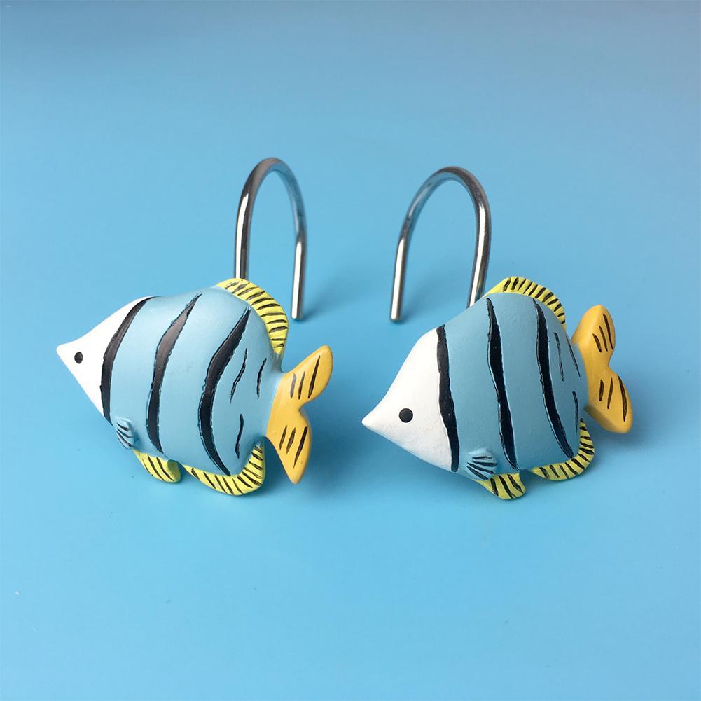 Nuevo 12 unids/set en forma de pez gancho de resina ducha ganchos de anillo para cortina accesorios de cortina fácil de instalar gancho antioxidante para el baño