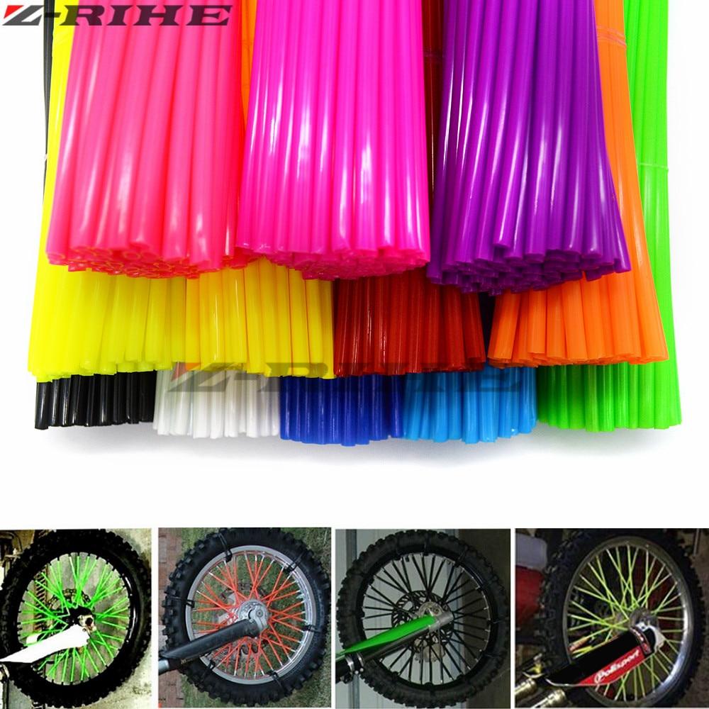 Universal Mixed color Motorcycle Wheel Rim Spoke Skins Covers Wrap Tubes Decor Protector Kit for kawasaki KLR650 KLX250 KLX450R
