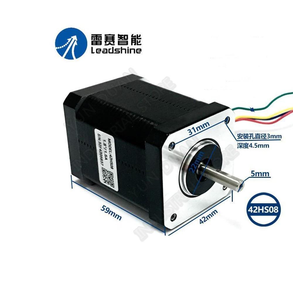 Leadshine-محرك متدرج هجين NEMA17 42 مللي متر ، للطابعة ثلاثية الأبعاد CNC ، 42HS08 0.71Nm 100Oz.in 2 Phase 1A 4-Lead 1.8