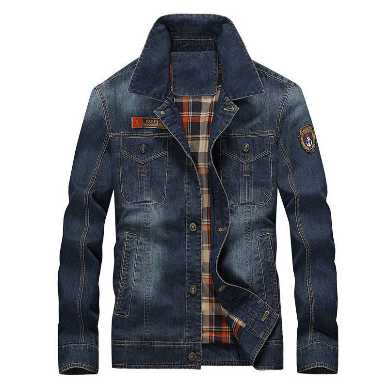 Новая мода Для Мужчин's Джинсовые куртки Демисезонный куртка-бомбер Повседневное свободные пальто в стиле милитари Куртки брендовая одежда...