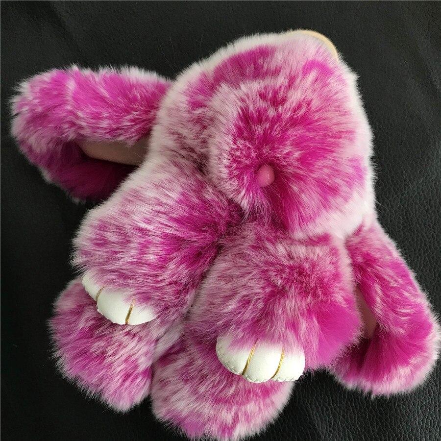 LLavero de piel de conejo Rex auténtica de Magicfur, bonito conejito de juguete, muñeco de escarcha rosa, bolsa de bola de Pompón, llavero con dije de insecto, accesorios colgantes