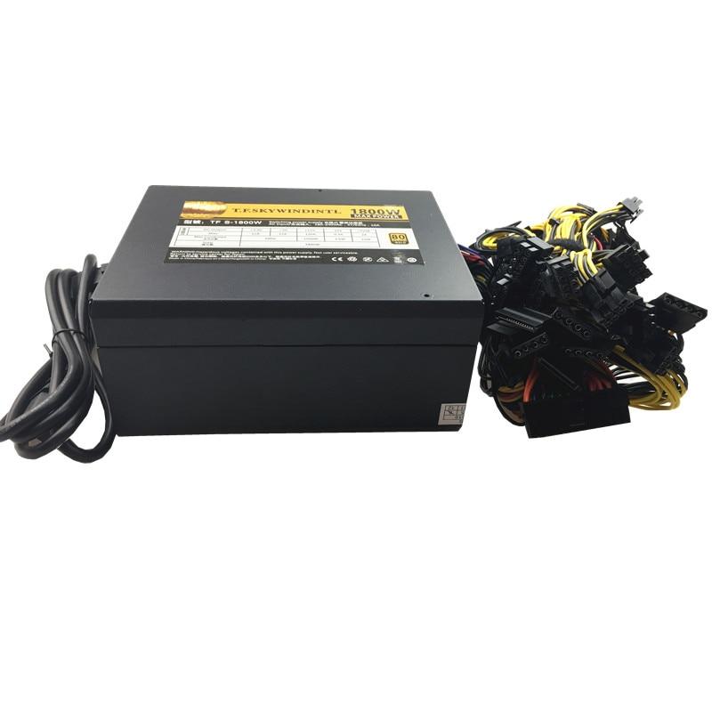 T.F.SKYWINDINTL-مصدر طاقة 1800W Asic bitcoin ، مصدر طاقة 1800W ETH ، آلة تعدين ATX ، يدعم 8 بطاقات GPU لـ BTC Antiminer