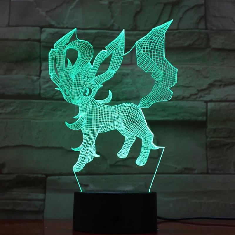 2019 3D Lamp Pokemon Game Figures Eevee Leafeon Children's Night Light RGB LED Bulb Multicolor Change Flash Fade Mood Home Decor