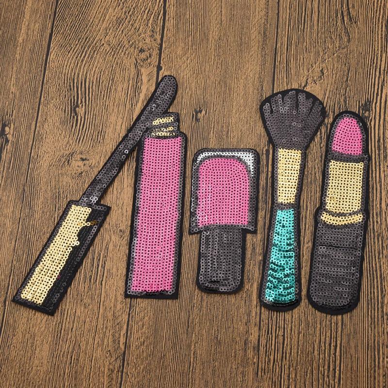 4 unidades/pacote Cosméticos Batom Unha Polonês Maquiagem Escova Forma Patchwork Lantejoulas Patches DIY Craft Sew-On Clothes Applique