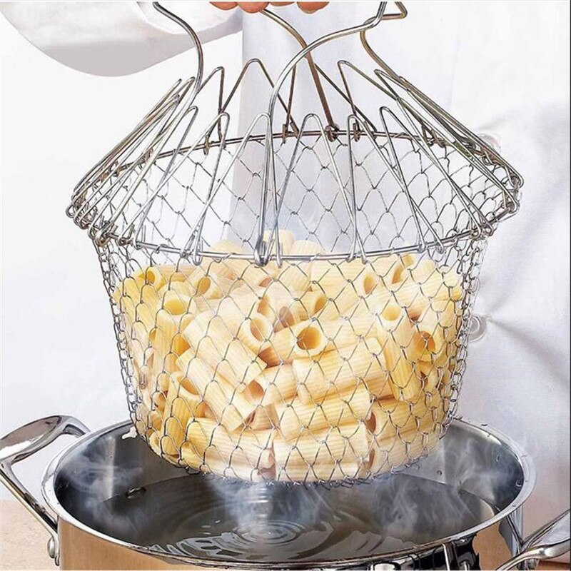 Canasta para freír de Chef expansible, colador de acero inoxidable, cesta mágica, cesta de malla, colador, Red de cocina, enjuague al vapor