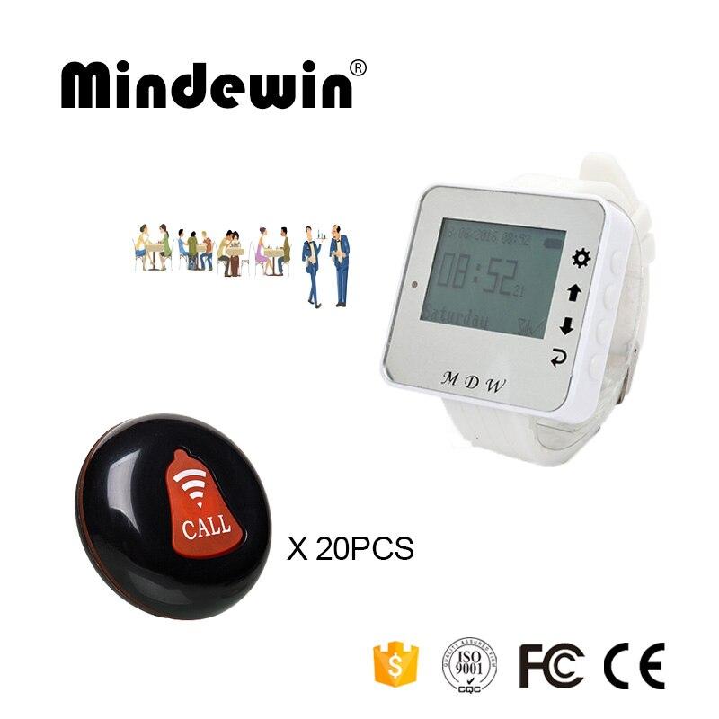 Mindewin, 433mhz, buscapersonas, restaurante, sistema de timbre de llamada inalámbrico, 1 Uds., reloj buscapersonas, M-W-1 y 20 piezas uds, botones de llamada de mesa M-K-1