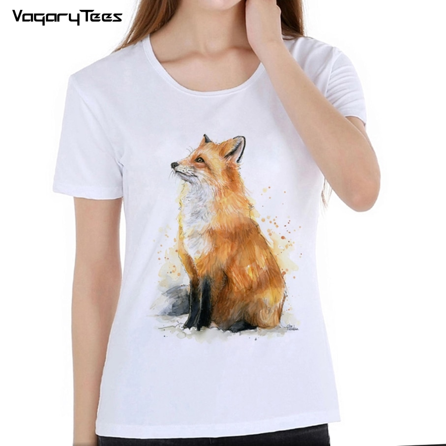 Vagarytees nueva moda creativa roja impresa con zorros mujeres camiseta Hipster Vintage camiseta de zorro de manga corta o-cuello Casual Tops