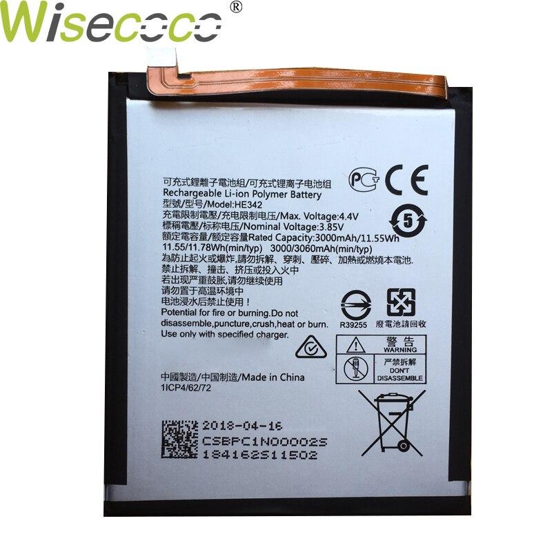WISECOCO nueva batería Original de 3000mAh HE342 para Nokia X6 2018 6,1 Plus TA-1099 Teléfono de alta calidad en Stock con número de seguimiento