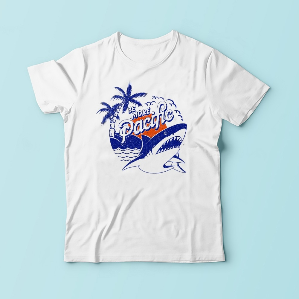 be more pacifique hawaii style t shirt men white Casual comfortable plus size tshirt homme BLUE SHARK print TEE Shirt