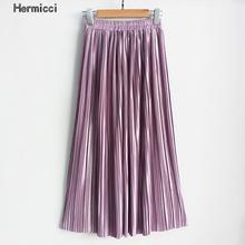 Hermicci 2020 mode jupes été plissé jupes longues femmes métallique Midi jupes Faldas Largas Mujer