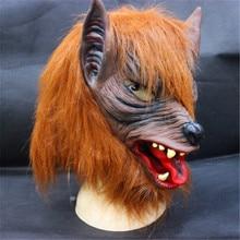Free shipping New Wolf Mask Creepy Halloween Costume Fur Mane Latex Realistic Horror Devil Masks Masquerade Props Cosplay CA-40