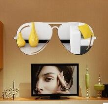 Kreatywne okulary kształt lustro naklejki akrylowe kryształowe winylu naklejka ścienna ozdobna dekoracja pokoju Sofa TV tło domu