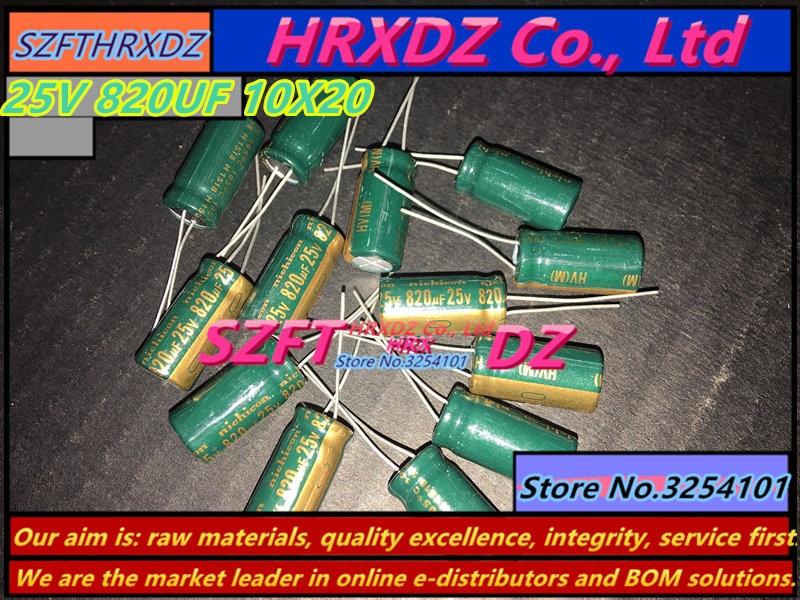 Szfthrxdz 50 pces 25 v 820 uf 10x20 capacitor eletrolítico 820 uf 25 v 10*20