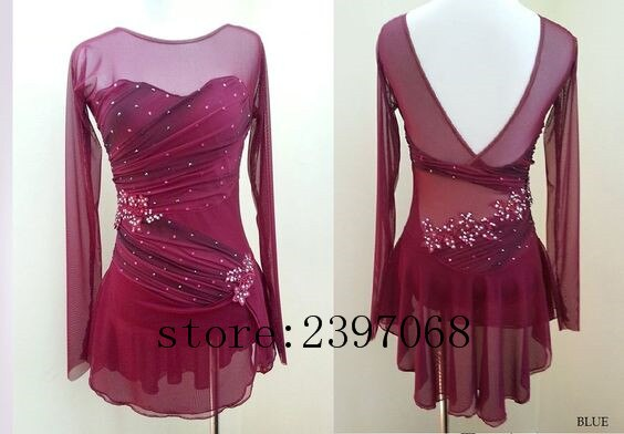 Ice Skating Dresses Women Competition Ice Skating Clothing Pink Girls Custom Ice Skating Clothing  Wine Red Free Shipping B429