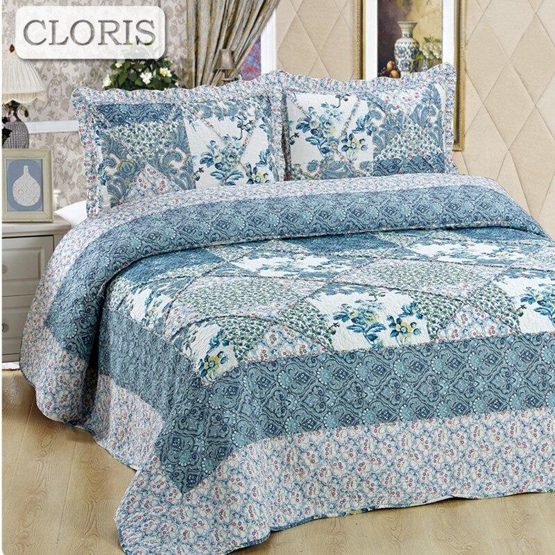 CLORIS Hipster cuadros ropa de cama manta Queen tamaño edredón cubierta de cama de la Reina tamaño flores Vintage fundas de almohadas edredón cubierta