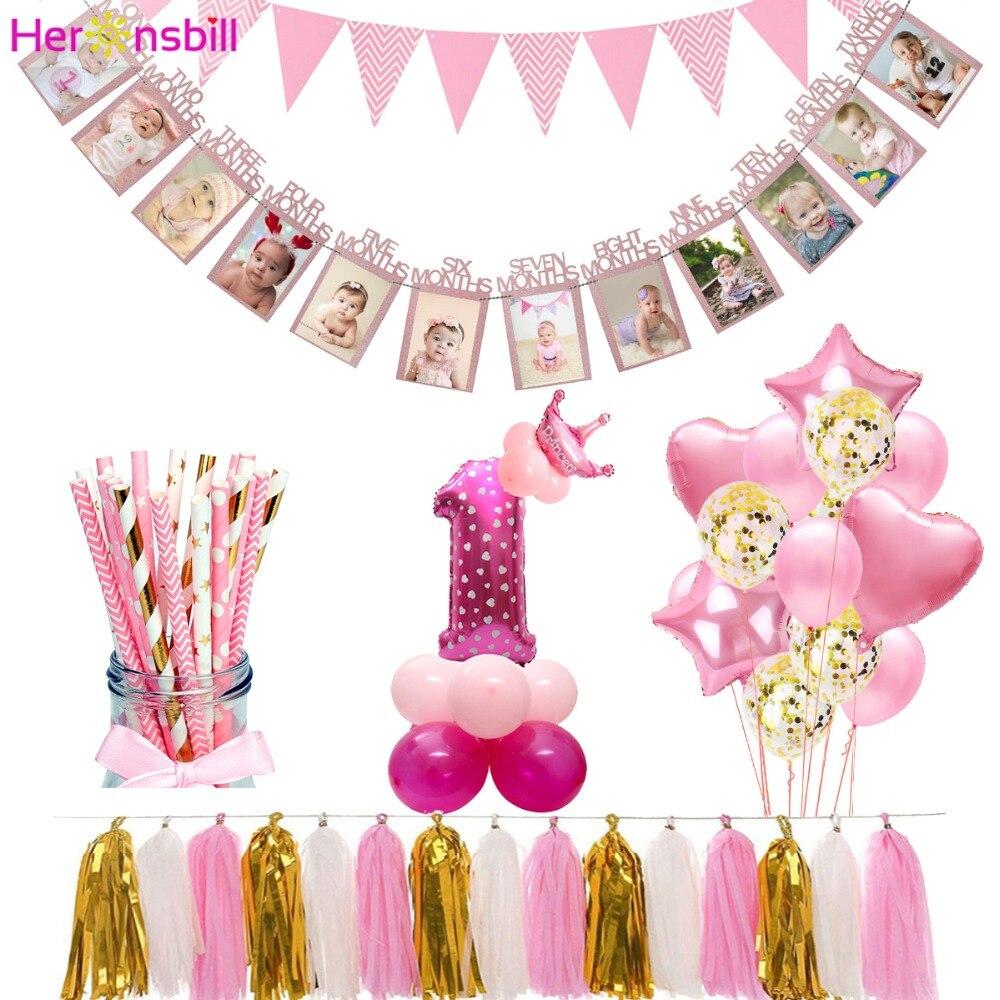 12 meses foto moldura 1st feliz aniversário balão, decoração da festa crianças meu primeiro bebê menino menina número 1 um anos de suprimentos