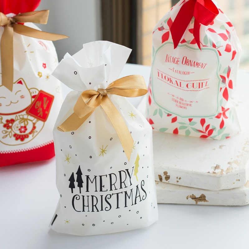 10 Uds oro navidad regalo de árbol bolsas de galletas pastel de...