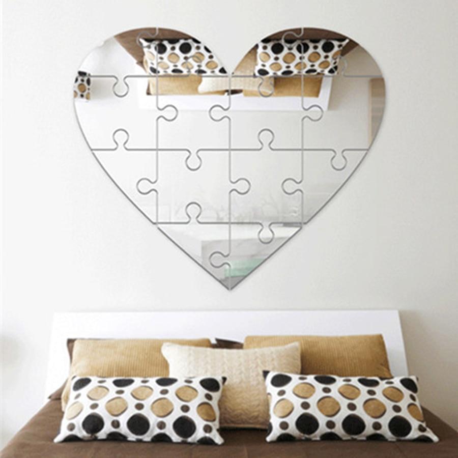 Зеркальные 3D-наклейки на стену, акриловые, серебряные, золотистые, для гостиной, креативные, декоративные, зеркальные, с узором в виде сердца