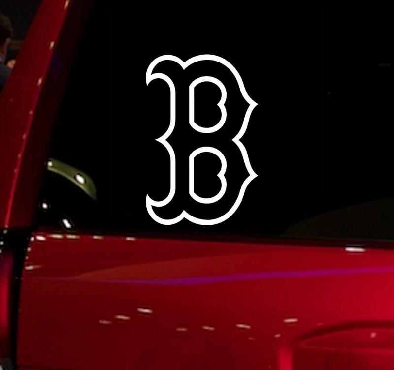 Pegatina para ventana de coche de juego de béisbol Red Sox B, pegatina para coche, camión, Suv, calcomanía de 5,5 pulgadas, vinilo para ventana de coche, pegatina troquelada blanca