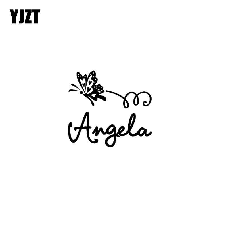 YJZT 15.2CM*13.8CM Nice Butterfly Angel Vinyl Decal Car Sticker Black/Silver C19-0569