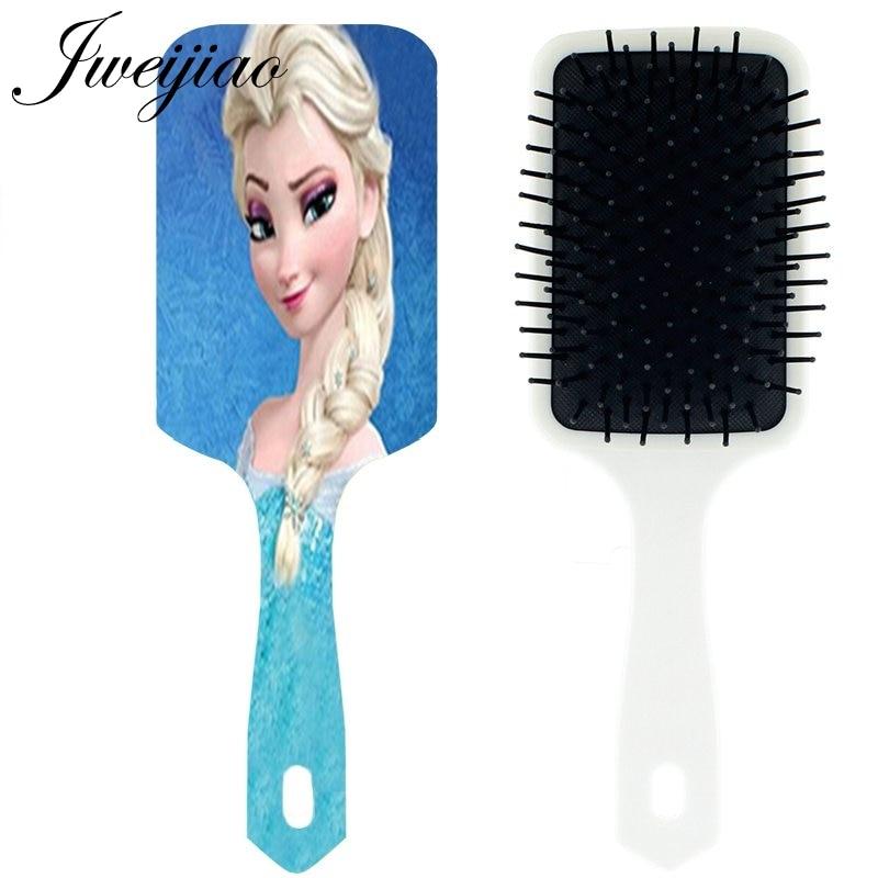JWEIJIAO Princess Elsa Anna Snow Queen Massage Comb Woman Girls Cartoon Cute Tangle hair brush cepillo pelo