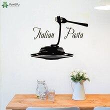 YOYOYU Wall Decal Italy Pasta Logo Wall Sticker Kitchen Window Decals Removable Food Pattern Interior Art Home Decor DesignCY431