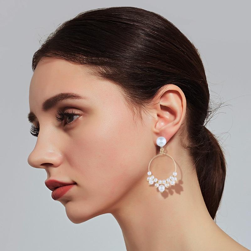 Einfache ohrringe handgemachte perle ring ohrringe mode frauen exquisite kleine kreis geometrische ohrringe schmuck