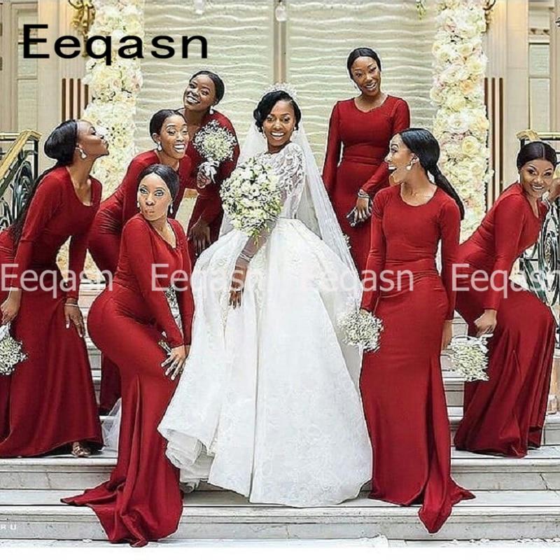 Borgonha vestido de dama de honra 2020 feminino preto meninas mangas compridas sereia dama de honra casamento vestido de festa de hóspedes barato online