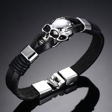 Мужские Прочные кожаные браслеты в стиле панк-рок, черный кожаный браслет на запястье с черепом и скелетом для Хэллоуина