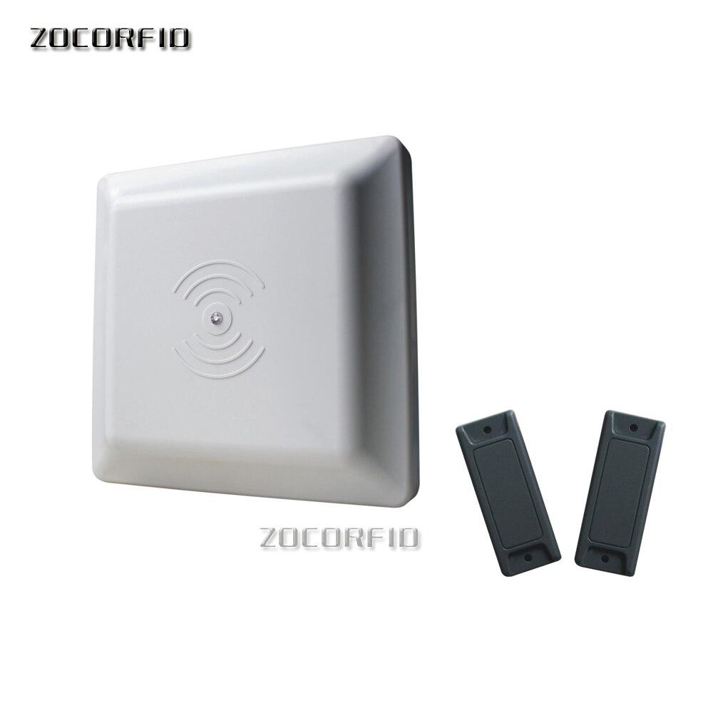 ISO18000-6C UHF RFID lector 8dbi antena RS232/RS485/Wiegand leer 3-8M lector integrativo UHF RFID + 2 etiquetas rfid