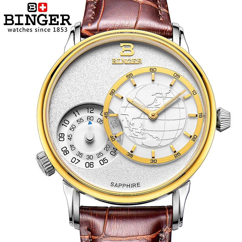 Nova marca de luxo relógio masculino duplo dial quartzo ouro safira pulseira couro relógio 1 ano garantia bg0389