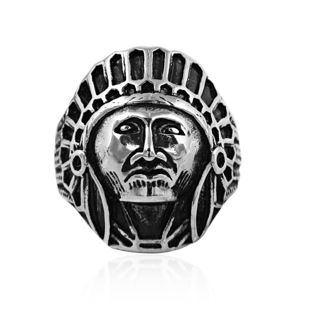 Drop Shipping Indiana Ring Chief Stainless Steel USA Indiana Motorcycle Rider Fashion Men's Ring Cool Gothic Ring