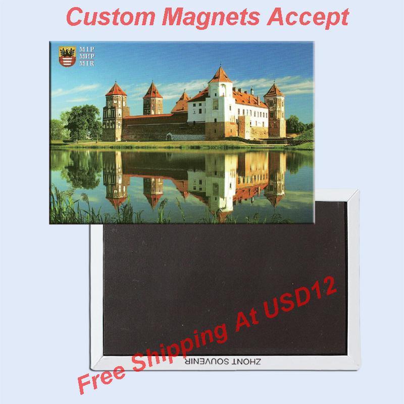 78*54*3mm Bielorrusia-Castillo Mir recuerdo de Metal envuelto imanes de nevera 20327 placa rígida recuerdos turísticos