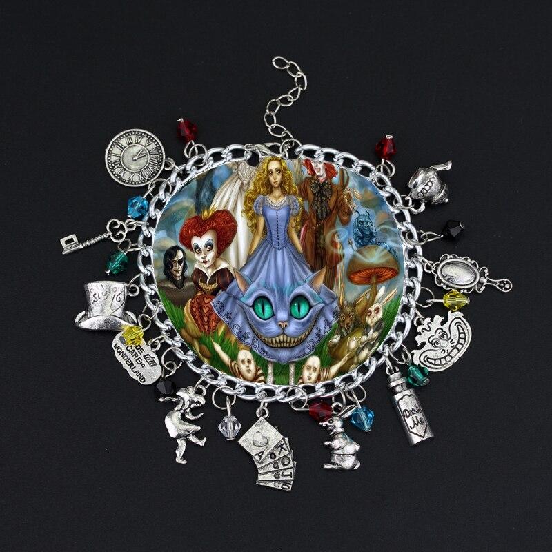 HANCHANG Jewelry Alice In Wonderland Charm Bracelet Cat Mad Hatter Rabbit  Bangle A Bracelet Cosplay Jewelry Women Gilr