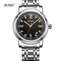 burei brand fashion mechanical watch man luxury waterproof calendar business casual sapphire wristwatch clock relogio masculino
