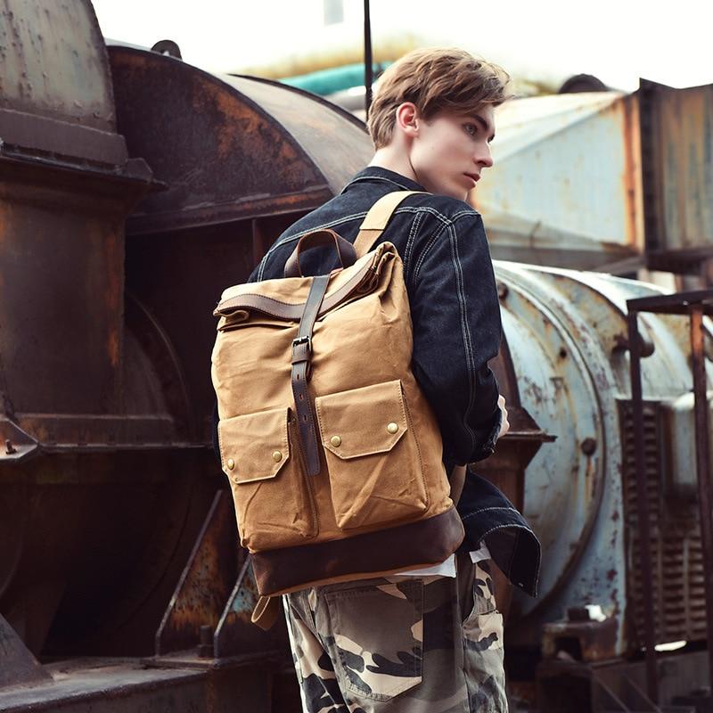 Brand Designer High Quality Men Wax Canvas Outdoor School Travel Backpack Teenage Classic Retro Large Laptop Bookbags